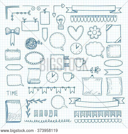 Diary Doodle Notes. Hand Drawn Graphic Shapes Frames For Notebook Daily Bullet Journal Ideas Vector