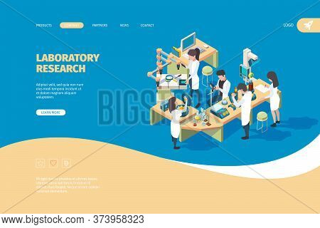 Science Person Landing Page. Doctors Laboratory Scientist Working On The Table Biotechnology Medical