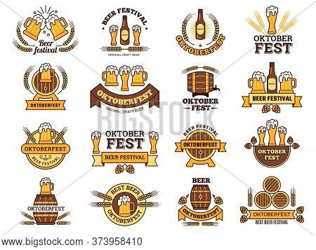 Oktoberfest Logo. Traditional Beer Festival Emblems With Alcoholic Drinks Pictures Lager Pub Vector