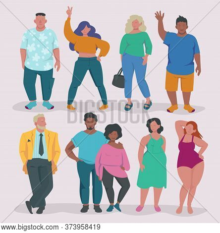 Fatty Lifestyle. Fat Male And Female Characters Attractive Overweight People Group Body Positive Vec