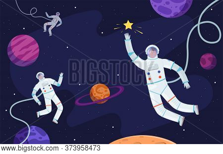 Space Background. Astronaut In Suit Working On Asteroids Or Moon Professional Cosmonaut Vector Perso