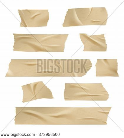 Sticky Tape. Adhesive Damages Paper Tape With Torn Edges Creases And Wrinkled Vector Realistic Templ