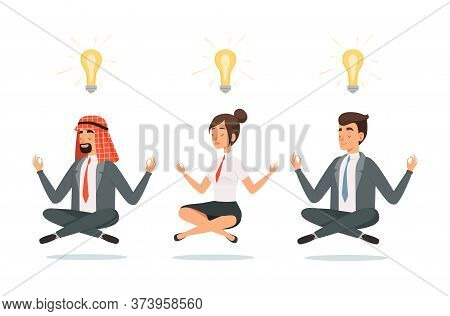 Business People Meditation. Relaxation, International Team Finding Ideas. Creative Men And Woman, Ma