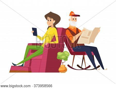 Different Generations. Old Man Vs Young Woman, Father And Daughter. Girl Reading With Smartphone, Da