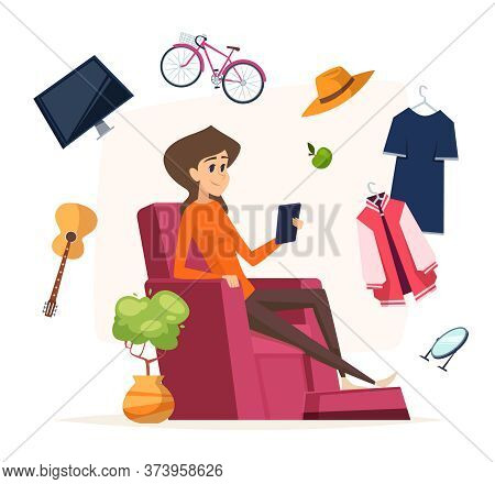 Online Shopping. Woman With Smartphone Buy Different Things. Stay Home, Isolation Period Digital Sma
