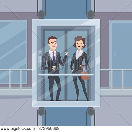 Elevator Talk. Businessmen Dialogue In Elevator Business Conversation Vector Cartoon Character. Busi