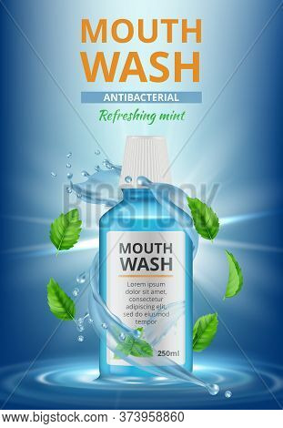 Rinse Water Ads. Dental Medical Poster Mouthwash Fresh Cleaning Water Splashes Vector Realistic Plac