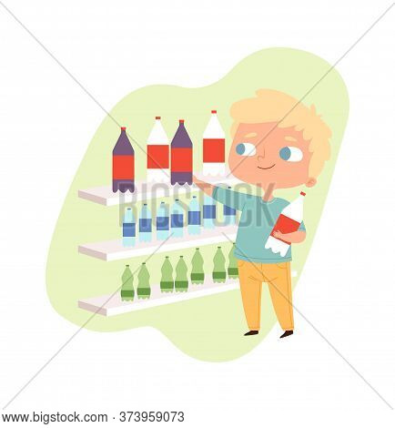 Boy Buying Drink. Cartoon Baby Male Character, Guy Near Grocery Store Shelves. Little Man Customer V