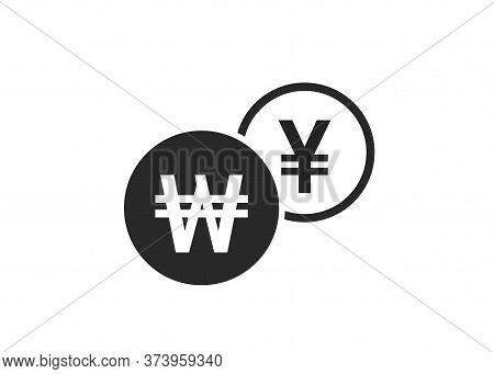 Korean Won To Japanese Yen Currency Exchange Icon. Money Exchange And Banking Transfer Symbol