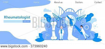 Rheumatologist Vector Concept. Osteoporosis World Day, . Tiny Doctors Research Osteoarthritis Anatom