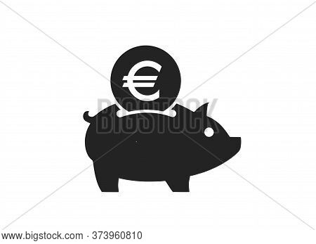 Save Euro Coin Icon. Euro Money Piggy Bank. Isolated Vector Banking And Finance Symbol