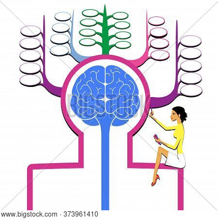 Sign Silhouette Of A Man With A Brain Front View. Memory Cells. The Girl Writes In Memory. Isolated
