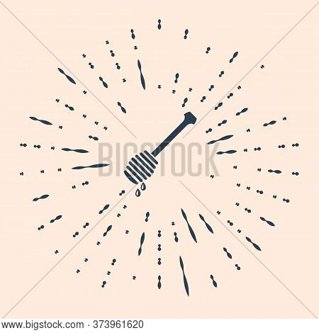 Black Honey Dipper Stick With Dripping Honey Icon Isolated On Beige Background. Honey Ladle. Abstrac