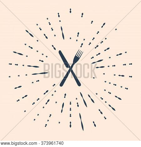 Black Crossed Fork And Knife Icon Isolated On Beige Background. Restaurant Icon. Abstract Circle Ran