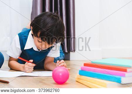 Happy Child Kid Boy Kindergarten Drawing On Peper Teacher Education At Interior Room Home