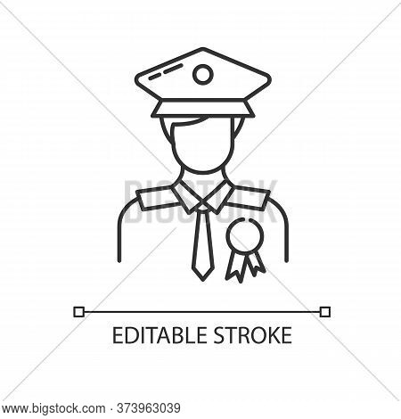 Police Officer Linear Icon. Military Patrol. Male Guard. Security Man In Uniform. Deputy Officer. Th