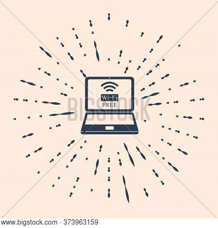 Black Laptop And Free Wi-fi Wireless Connection Icon On Beige Background. Wireless Technology, Wi-fi