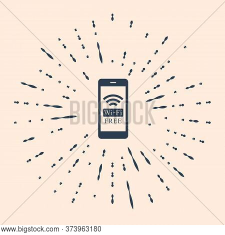 Black Smartphone With Free Wi-fi Wireless Connection Icon On Beige Background. Wireless Technology,