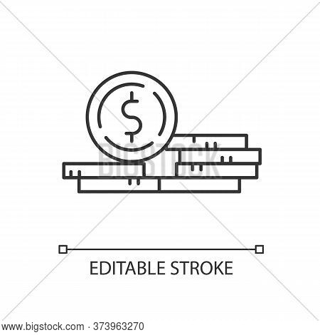 Stack Of Coins Linear Icon. Growth In Wage. Revenue From Business. Financial Success. Thin Line Cust
