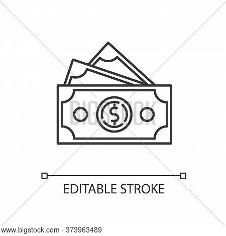 Dollar Banknotes Linear Icon. Salary Payout. Financial Operation. Business Investment. Thin Line Cus