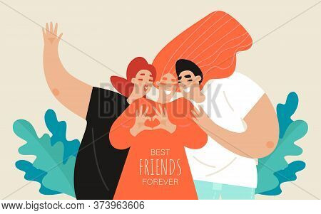 Friendship Day Vector Banner Template With Two Girls And A Guy. Group Of Young People Posing. Best F