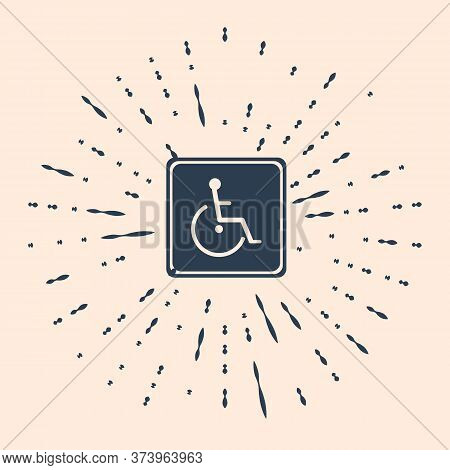 Black Disabled Handicap Icon Isolated On Beige Background. Wheelchair Handicap Sign. Abstract Circle
