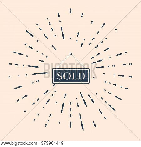 Black Sold Icon Isolated On Beige Background. Sold Sticker. Sold Signboard. Abstract Circle Random D