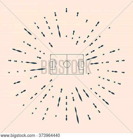 Black Football Field Or Soccer Field Icon Isolated On Beige Background. Abstract Circle Random Dots.