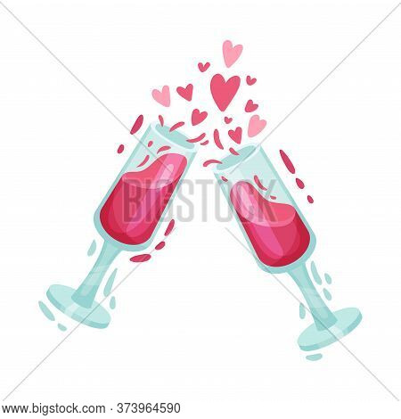Glasses Of Red Wine Banging Against Each Other As Symbol Of Saint Valentine Day Vector Illustration