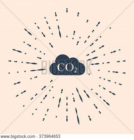 Black Co2 Emissions In Cloud Icon On Beige Background. Carbon Dioxide Formula Symbol, Smog Pollution