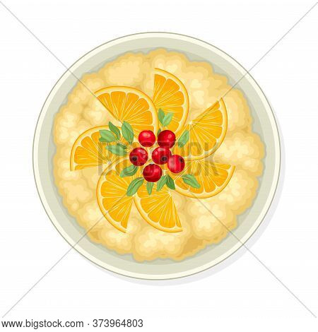 Bowl Of Cereal Or Oatmeal Porridge With Berries View From Above Vector Illustration