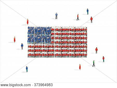 United States Of America National Flag Composed Of People Crowd Against White Background, Vector Ill