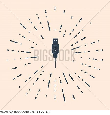 Usb Cable Cord Icon On Beige Background. Connectors And Sockets For Pc And Mobile Devices. Computer