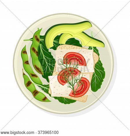 Grilled Vegetables Served On Plate With Tofu Vector Illustration