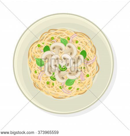 Vegetarian Spaghetti With Mushrooms And Greenery Vector Illustration