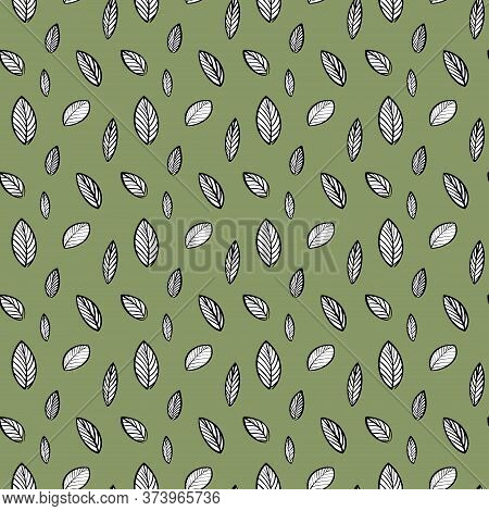 Pattern Of White Leaves On A Green Background. Botanical Fashion Minimalistic Pattern.seamless Botan