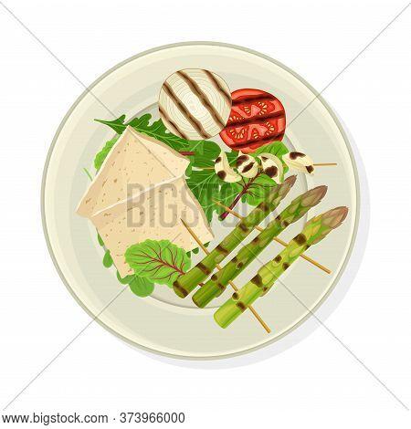 Grilled Skewered Vegetables Served On Plate With Tofu Vector Illustration