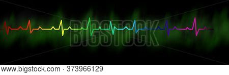 Heartbeat  Rhythm With Heart One Line Stock Image