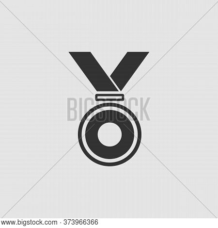 Medal Icon Flat. Black Pictogram On Grey Background. Vector Illustration Symbol