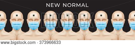 New Normal Concept Banner Design. Naked People With Rfid Microchips And Medical Face Masks, Standing
