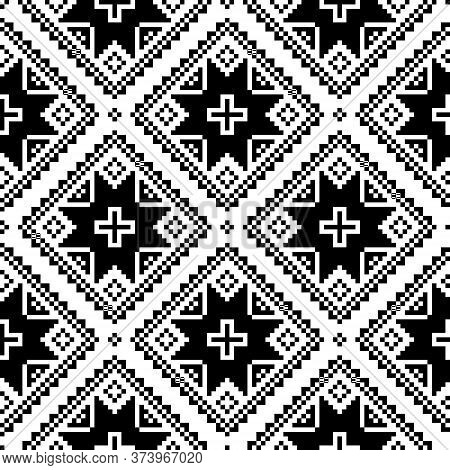 Seamless Cross-stitch Folk Art Vector Pattern Inpired By Traditional Embroidery Designs Form Ukraine