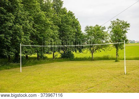 Volleyball Court. Green Net Game Court. Sports Concepts