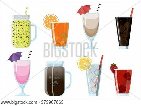 Set Of Cartoon Food Non-alcoholic Beverages - Tea, Herbal Tea, Hot Chocolate, Latte, Mate, Coffee, R