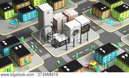 Product Category Concept House Appliances In The Form Of A Quarter Of The City 3d Render Image