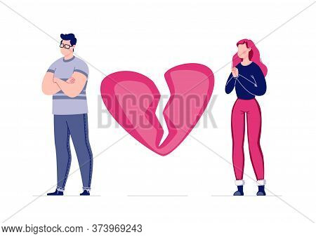 The Concept Of Breaking The Love Relationship. Divorce. Former Couple. Conflict Between Lovers. Brok