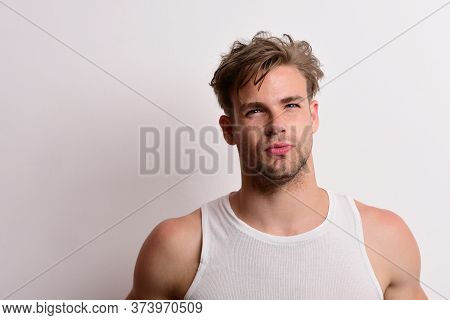 Man With Fair Hair On White Background, Copy Space.