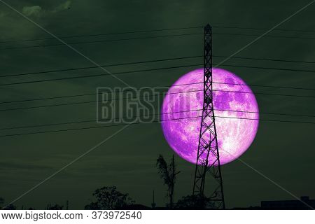 Full Purple Crow Moon And Silhouette Power Electric Pole And The Night Sky