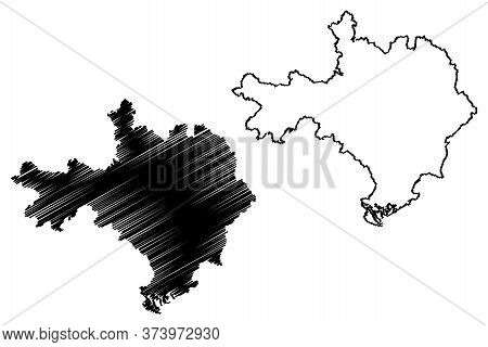 Gard Department (france, French Republic, Occitanie Or Occitania Region) Map Vector Illustration, Sc