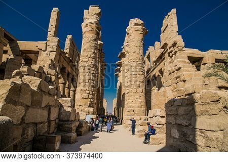 Luxor, Egypt - Jan 28, 2020: Luxor Temple in Luxor, ancient Thebes, Egypt. Luxor Temple is a large Ancient Egyptian temple complex located on the east bank of the Nile River.