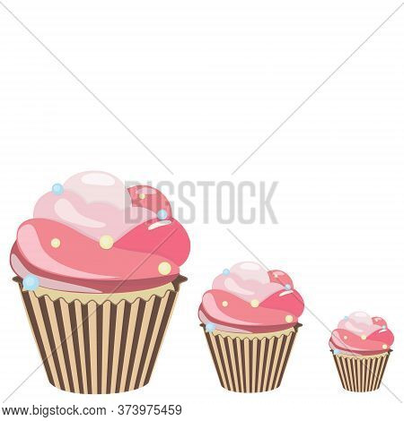 Cupcake Set. Sweet Creamy Desserts Muffins With Frosting Flavors Decoration, Delicious Confectionery